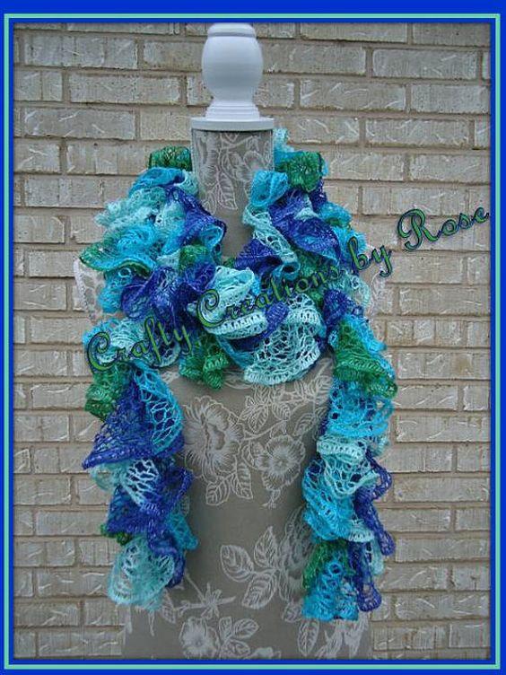 Blue Frilly Ruffled Scarf Sashay Scarf Crochet Scarf by CCBR2014