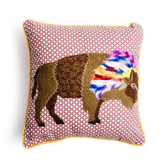 Bison Embroidery Cotton Pillow
