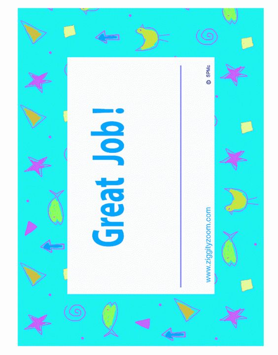 free printable good job award