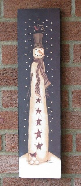 Folk Art Primitive Pencil Snowman