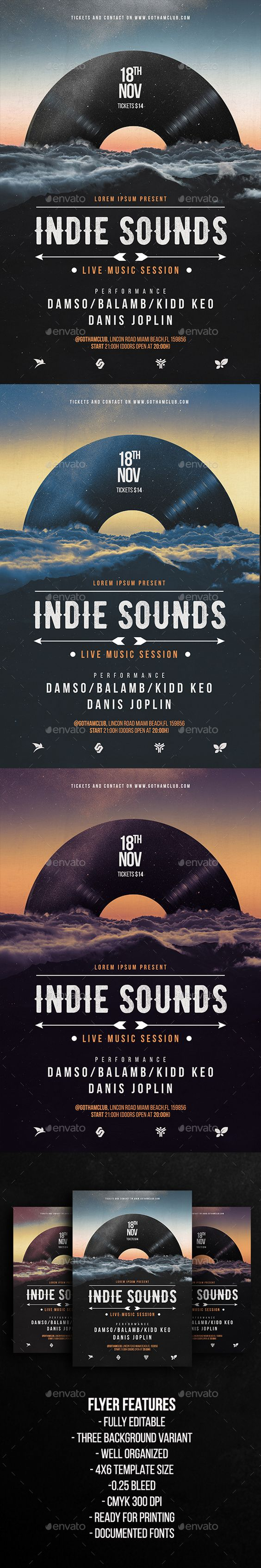 Indie Sounds Flyer Template   Indie, Hipster and Flyers