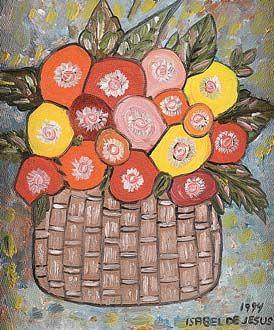 Tipo : Pinturas Título : Vaso de Flores Artista : Isabel de Jesus Ano : 1994 Técnica : Óleo sobre Tela Dim. : 18 x 15 cm
