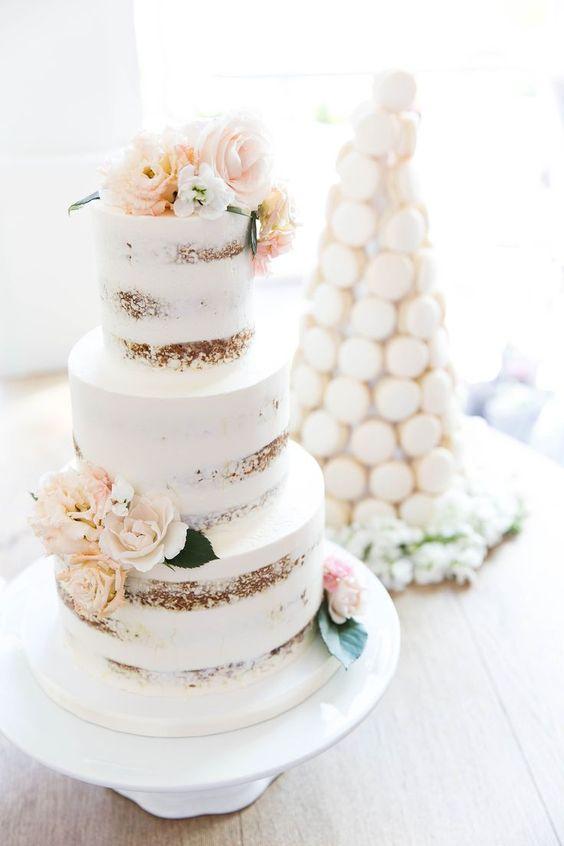 Love this white washed naked wedding cake