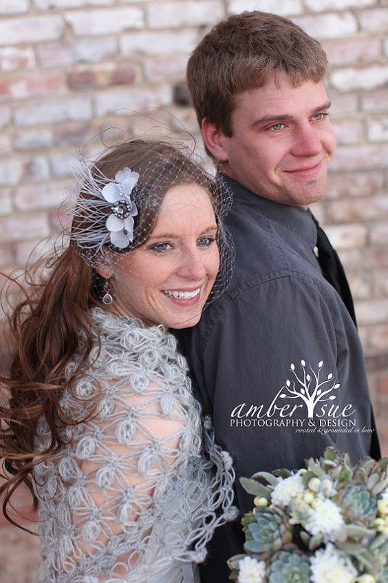 Grey Feather Bridal Fascinator with grey birdcage veil, Bridal veil and comb, bird cage veil, Bridal hair accessory, Bandeau birdcage veil on Etsy, $33.91 CAD