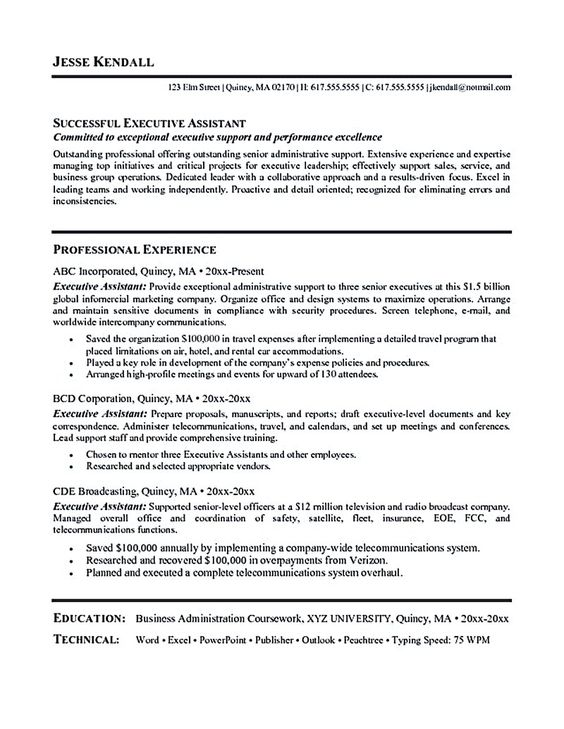 executive administrative assistant resume Executive assistant - sample resume for administrative assistant