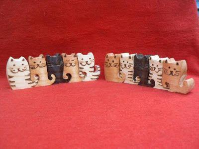 Artesanato Paraty - Artesanato em madeira: Gato 006 5x12cm R$ 25,00