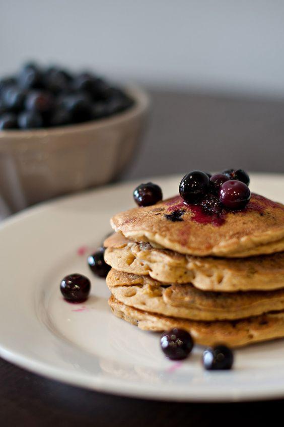 {Vegan & Gluten Free Blueberry Pumpkin Spice Pancakes w/ Blueberry Compote}  Milo and Me » Blog  www.miloandme.net