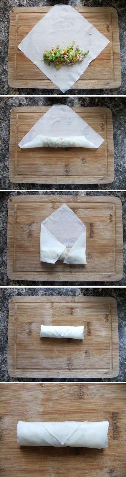 How to fold Egg rolls / Lumpia #diy #crafts www.BlueRainbowDesign.com
