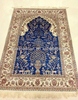 Blue Handmade Silk Persian Carpet Iranian Carpets Factory Low Rugs Value