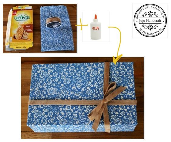 Criando embalagens para presente!!!! Usei uma caixa de biscoito, cola, tecido, pincel e tesoura. Para dar um toque especial, uma fita de couro!