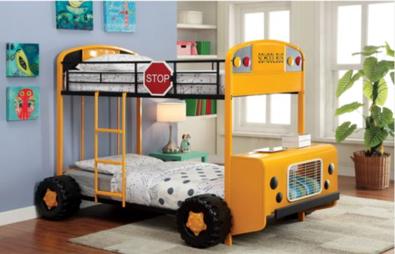 This bunk bed that makes it totally okay to sleep on the bus. | 23 Beds Your Kids Will Lose Their Minds Over