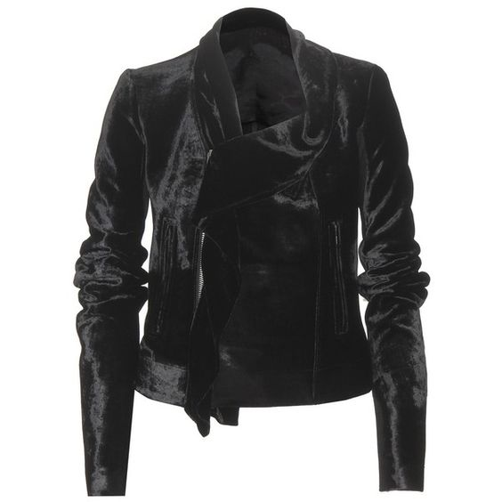 Rick Owens Velvet Biker Jacket ($1,265) ❤ liked on Polyvore featuring outerwear, jackets, black, moto jacket, biker jacket, rider jacket, rick owens and velvet jacket