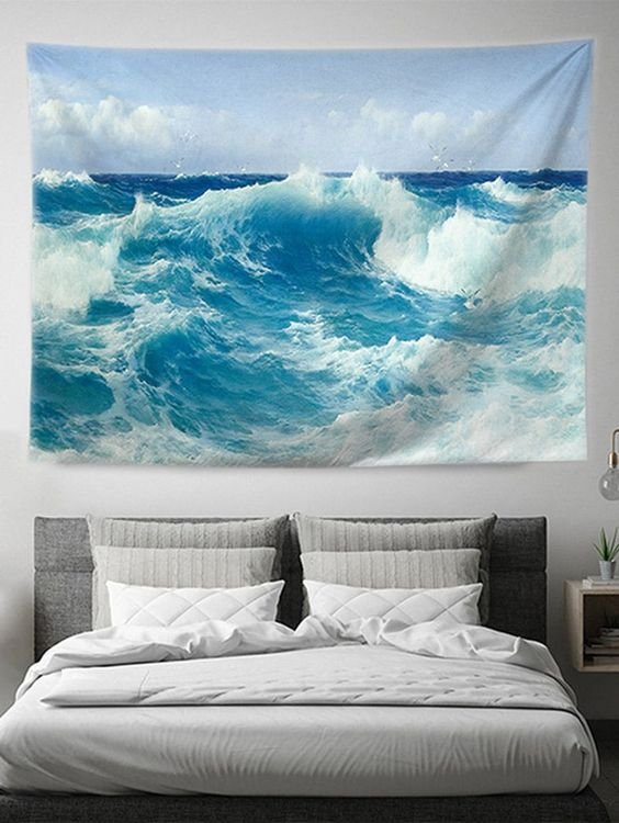 Square Sea Wave Pattern Print Decorative Tapestry. Trending home tapestry décor ideas design fill up your wall hangings spaces for beautiful bedroom apartments dorm room, boho, bohemian interior designs, urban outfitters living room wall art. Also, Mandala, Hippie, black and white, crochet, floral, trippy, Nature ideas like moon, beach, sun flower, mountain, blue ocean, cactus, purple or pink ceiling flower medieval décor all available. #livingroomdecor #roomdecorideas
