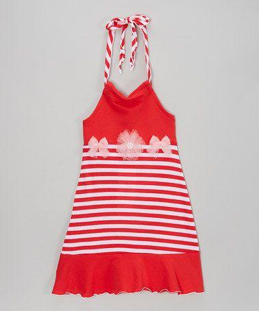 Another great find on #zulily! Red & Pink Stripe Halter Dress - Toddler & Girls #zulilyfinds $24.99