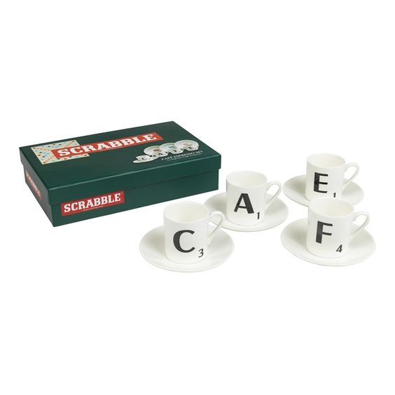 Earn yourself some points with this super set of four ceramic espresso cups and saucers. Spelling, appropriately, the word CAFE when placed in a row, each cup features a Scrabble letter on the front and the official Scrabble letter distribution chart on the back. Each saucer features a different bonus tile: Double Letter, Double World, Triple Letter and Triple Word scores. Visit www.hardtofind.com.au #gift #teacher #coach #school