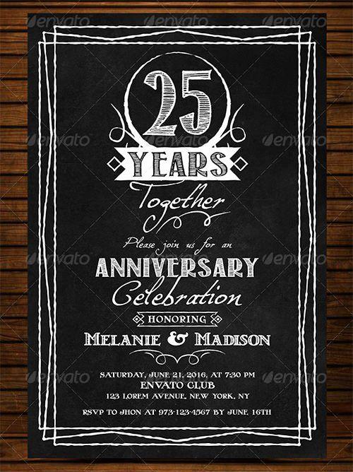 Wedding Anniversary Invitation Template Beautiful 22 Anniversary Inv Chalkboard Invitation Template Chalkboard Wedding Invitations Wedding Invitation Templates