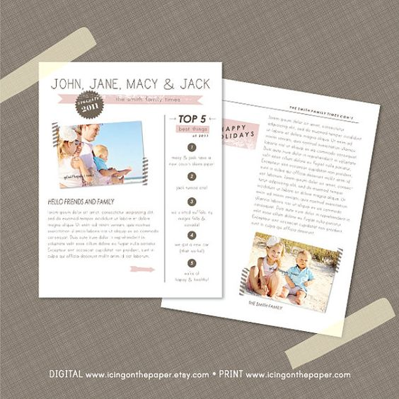 modern holiday newsletter or christmas newsletter includes photos icing on the paper. Black Bedroom Furniture Sets. Home Design Ideas