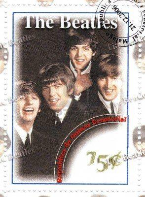 sello con el famoso grupo The Beatles Foto de archivo