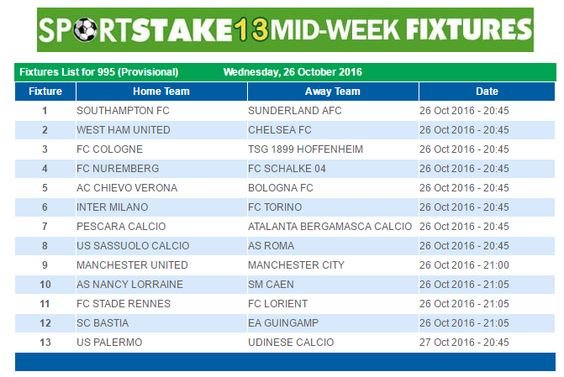 #SportStake13 Midweek Fixtures - 26 October 2016