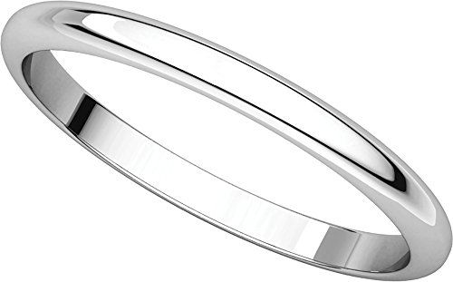 Gembrooke Creations Womens 18k White Gold Half Round Wedding Band 2mm Round Wedding Band Wedding Bands Wedding Ring Bands