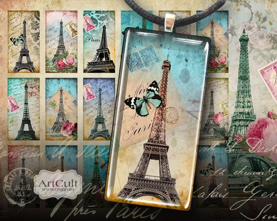TOUR EIFFEL - 1x2 inch Digital Collage Sheet Printable download for Domino pendants magnets scrapbooking. $4.50, via Etsy.