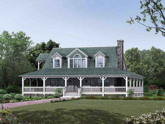 Cane hill country farmhouse farmhouse wallpaper home for Country homes plans with wrap around porches