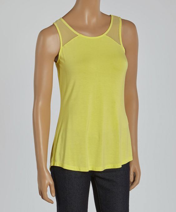 This Yellow Chiffon Sleeveless Top by Neesha is perfect! #zulilyfinds