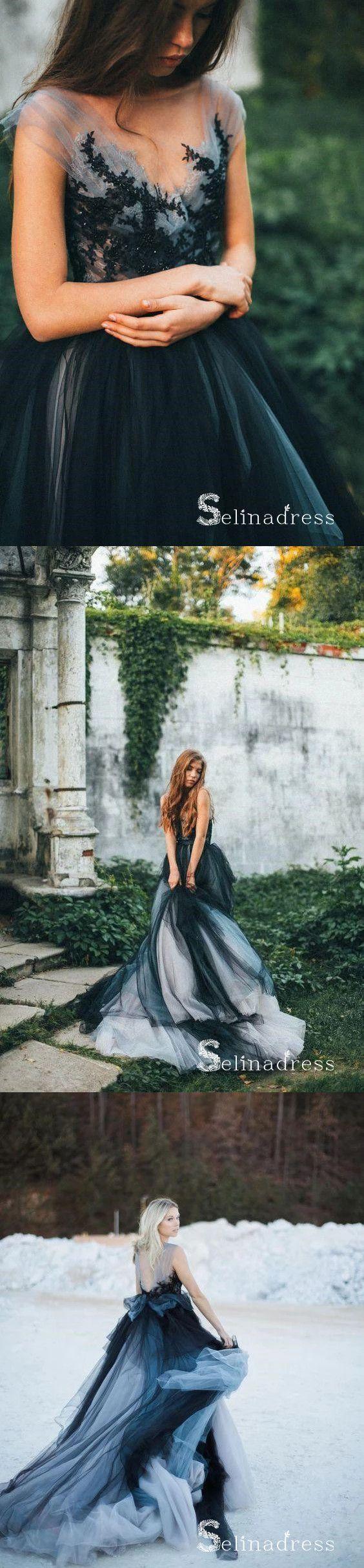 Romantic Black Wedding Dresses Modest Long Train Lace Ombre Wedding Gown Sew030 Black Lace Wedding Dress Tulle Evening Dress Black Lace Wedding [ 2429 x 564 Pixel ]