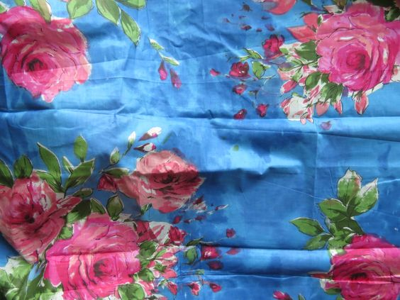 E2 Indigo Blue Fuchsia Big Floral Fabric Pattern