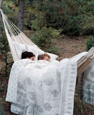 nap// I would love to move to a cooler climate and hang a hammock from big, beautiful trees, snuggle w/ my love and relax together! Sounds heavenly!: