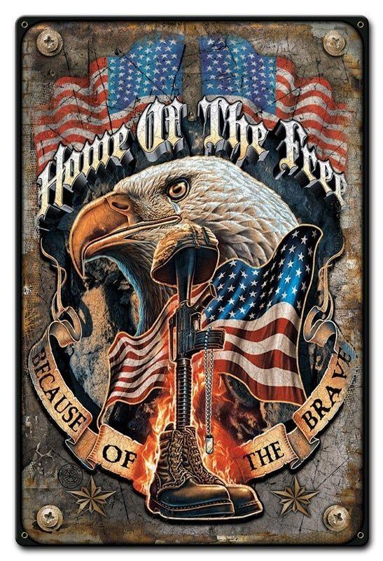 Give Me Liberty Or Give Me Death Bald Eagle Patriotic Nostalgic Tin Metal Sign