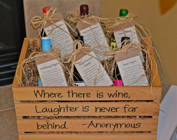 Love it love it love it! Fun wedding gift idea - bottle of wine for certain nights/occasions - (Ex. First Dinner Party, First Baby, First Christmas, First Fight...)