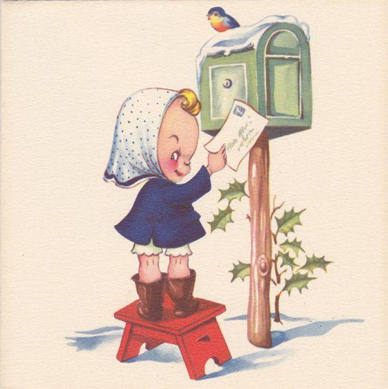 Midge Mails Her Wish List 1940s Vintage Card by EphemeraObscura