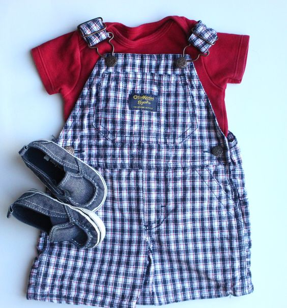 Cute Summer Baby Boy Outfit.  Osh Kosh Shortalls and Baby Gap Shoes.  All items and more Baby Boy Clothes available at bargain prices in our Baby Clothes Resale Store.  Check us out at www.maybugtreasures.com