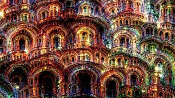 Bunten Bögen, dutzende Fenster – ein künstliches neuronales Netz schuf dieses Phantasiebild