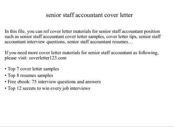 Free Download Staff accountant cover letter from here and get - senior accountant job description