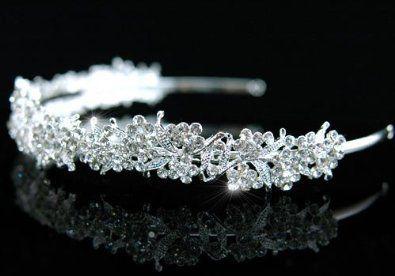 Silber Königin Kristall Strass Braut Blumen Blume Luxuriös Hochzeit Abschlussball Tiara Diadem (14cm x 2.5cm) 39,99+2,99