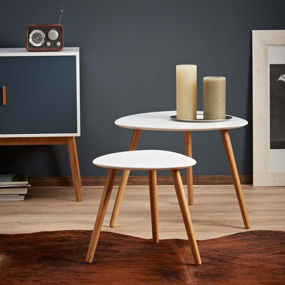LOMOS® No.2 Beistelltisch (2er-Set) in weiß aus Holz im modernen Retro-Look: Amazon.de: Küche & Haushalt