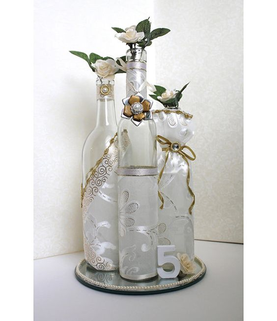 Set3 decorated wine bottle centerpiece vintage by for Wedding table decorations with wine bottles
