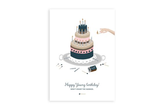 Happy young birthday - www.allthewaystos... - Illustrated cards, notebooks, Calendar & notepads