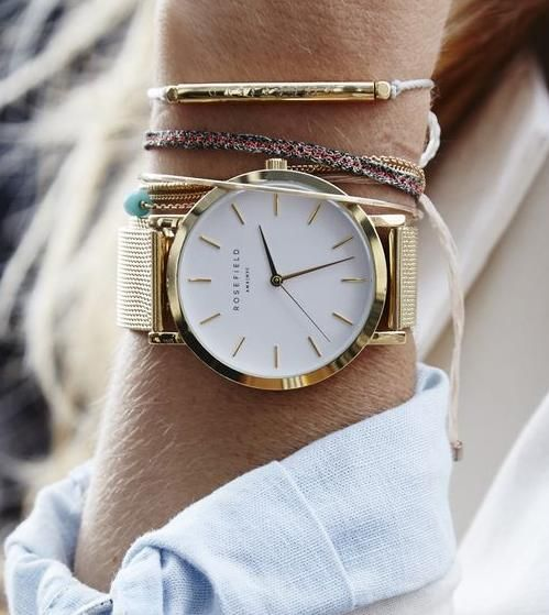 rosefield watch. details. bangles.: