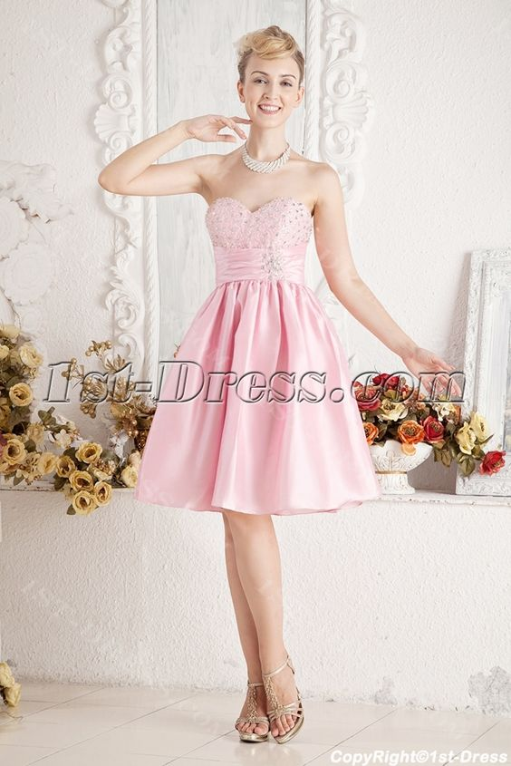 Cheap Pink Short Beaded Sweet 16 Dress:1st-dress.com