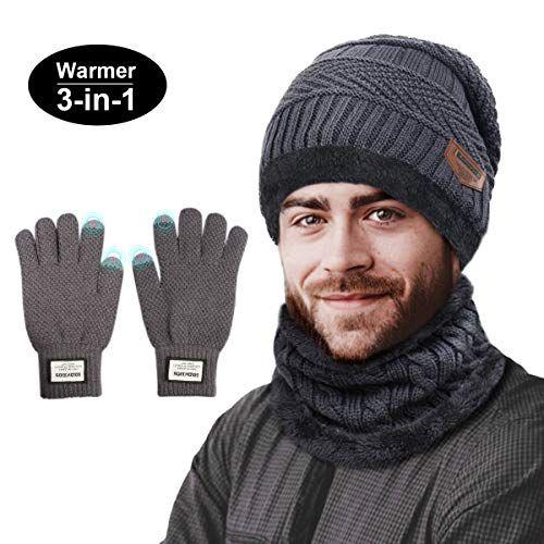Berretto Uomo in Maglia per Inverno Caldo Cappello Beanie con Sciarpa TedGem Cappello Uomo Invernali in Maglia con Sciarpa 3 Pezzi