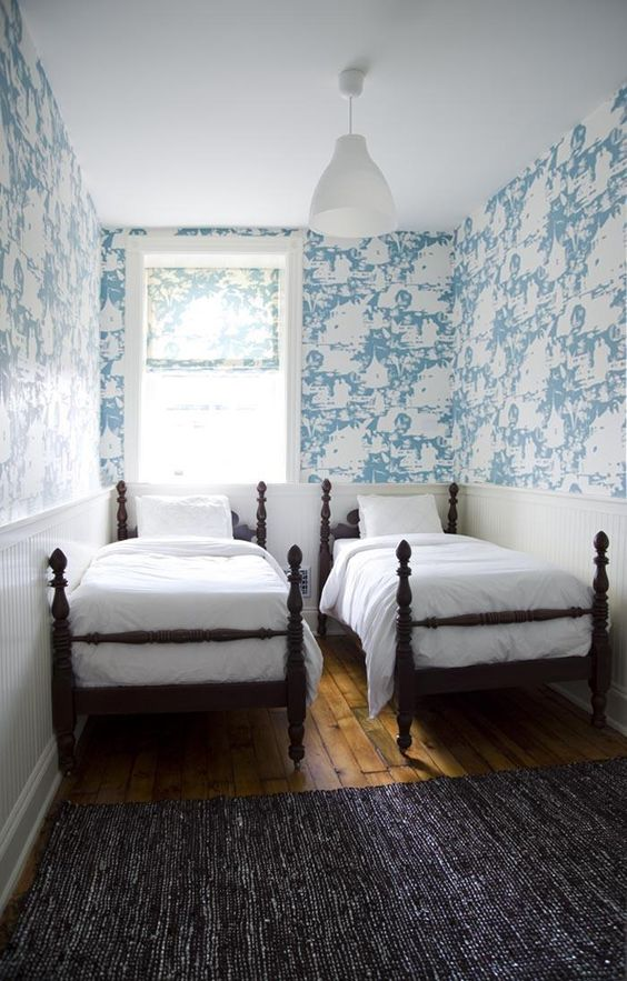 Twin beds wallpapers and twin on pinterest for Guest room with twin beds