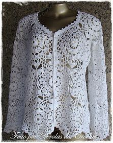 * Pérolas do Crochet: Casaqueto em croche Modelo Renda com botões