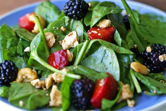 Strawberry-Blackberry Spinach Salad with Honey Balsamic Vinaigrette