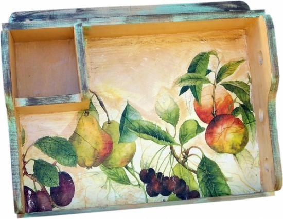 Portarrollos de cocina frutas madera de pino papel de - Portarrollos papel cocina ...