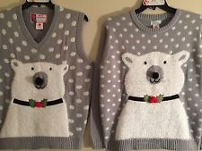 Couples His Hers Matching Ugly Cute Christmas Sweaters Vest Mens L Womens M