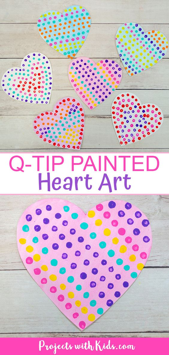 This q-tip painted heart art is so easy and fun for kids to make! A great Valentine's Day craft that kids of all ages will enjoy making. #projectswithkids #heartart #kidsart #valentinesdaycrafts