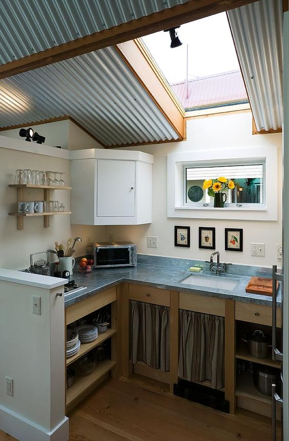 Metal ceiling tiny house and corrugated metal on pinterest for Tiny house kitchen layout